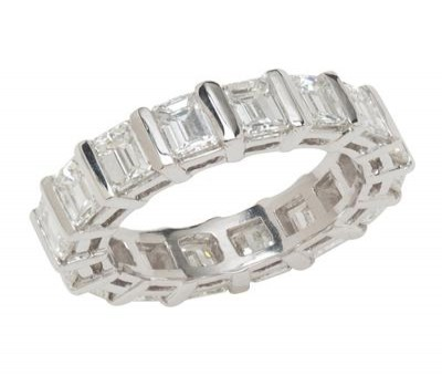 Platinum Emerald Diamond Eternity Band
