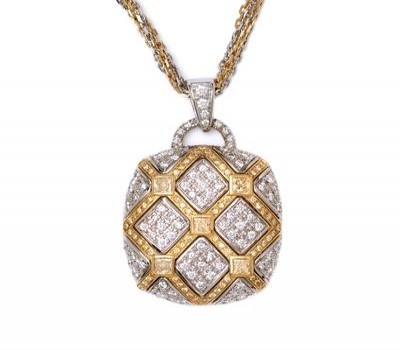 18K Two Tone Diamond Pendant