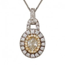 18K Two Tone Fancy Yellow Diamond Pendant
