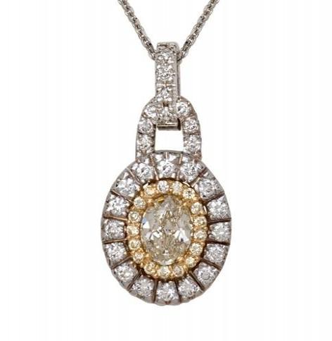 18K Two Tone Fancy Yellow Diamond Pendant