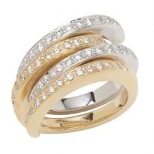 18K Two Tone Interlocking Diamond Rings