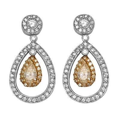 18K Two Tone Diamond Drop Earrings