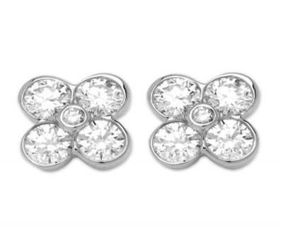 18K White Gold Tube Set Diamond Earrings