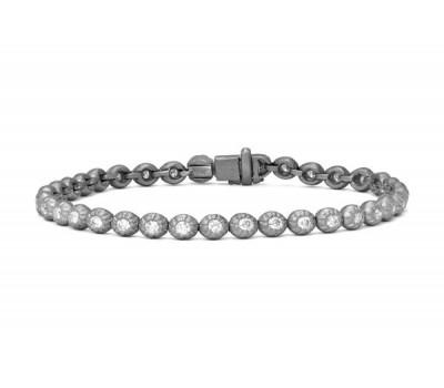 Matte White Gold Round Diamond Tennis Bracelet