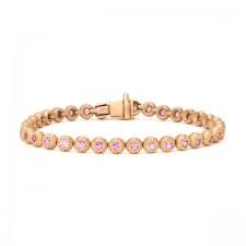 Matte Pink Gold Round Diamond Tennis Bracelet