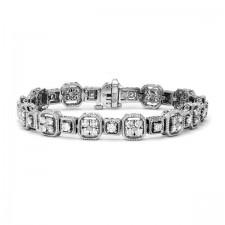 White Gold Antique Round Diamond Bracelet