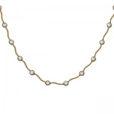 Two-Tone Gold Round Diamond Station Necklace