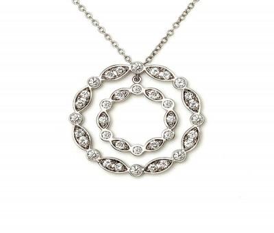 14K White Gold Round Diamond Necklace