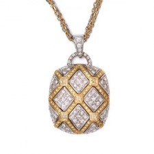Two-Tone Gold Quilted Diamond Necklace