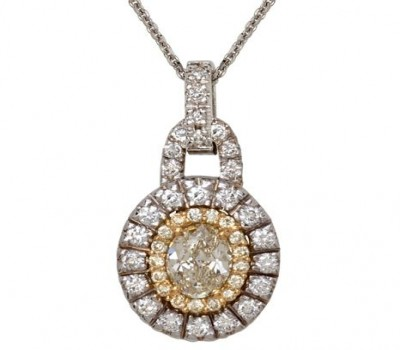 18K Two-Tone Gold Fancy Yellow Oval Diamond Necklace
