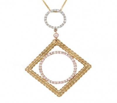 18K Three Tone Diamond Pendant