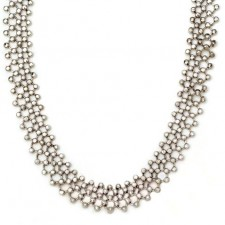 18K White Gold Tube Set Round Diamond Necklace