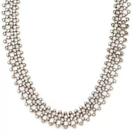 18K White Gold Tube Set Round Diamond Necklace