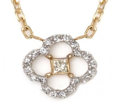 18K Two-Tone Gold Diamond Clover Necklace