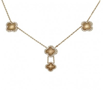 18K Yellow Gold Clover Necklace