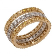 Stackable Yellow Gold Diamond Wedding Bands