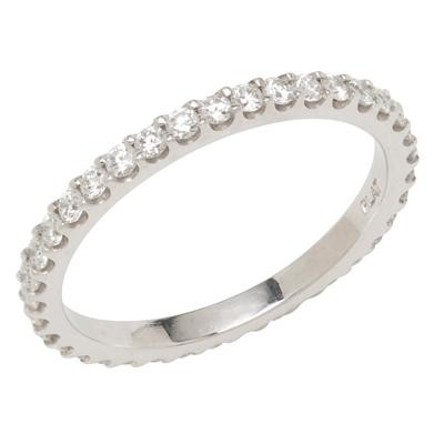 Platinum Wedding Band With Round Diamonds
