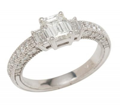 14K White Gold Engagement Ring With Emerald Cut Diamond