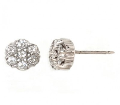 14K White Gold Round Diamond Cluster Earrings