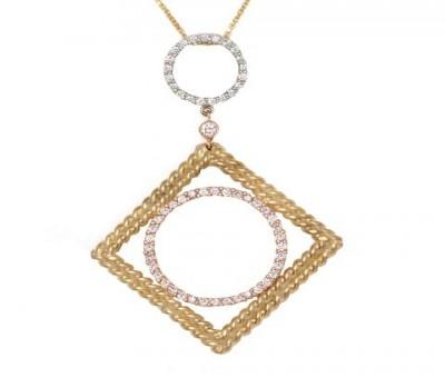 18K Three Tone Diamond Pendant