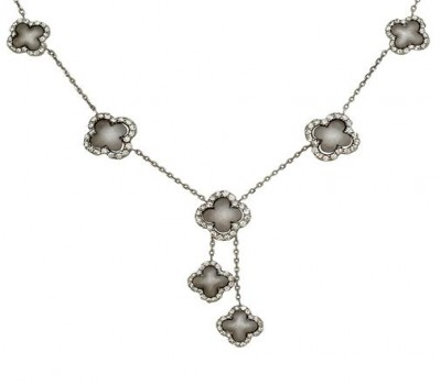 18K White Gold Clover Necklace