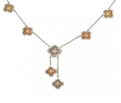 18K Three Tone Gold Clover Necklace