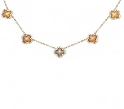 18K Three-Tone Gold Clover Necklace
