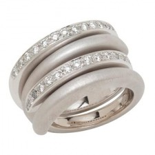 18K White Gold Interlocking Spiral Rings