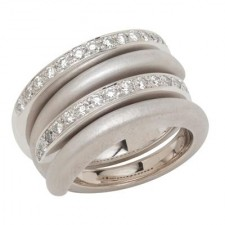 18K White Gold Interlocking Spiral Rings