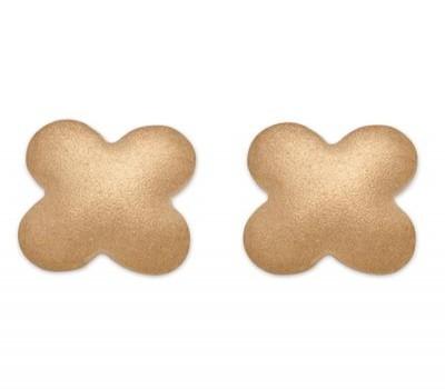 18K Yellow Gold Matte Finish Clover Earrings