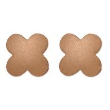 18K Pink Gold Matte Finish Clover Earrings