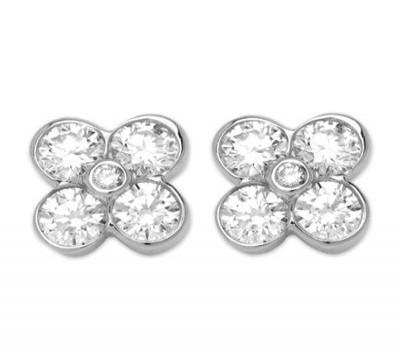 18K White Gold Diamond Clover Earrings