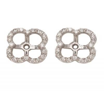 18K White Gold Diamond Clover Earring Jackets