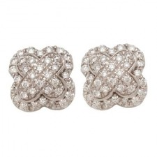 18K White Gold Clover Earrings With Jackets