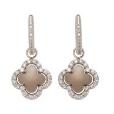 18K White Gold Detachable Hanging Single Clover Earrings