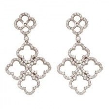 18K White Gold Hanging Clover Earring Jackets