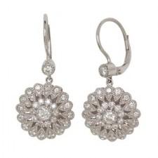 14K White Gold Antique Hanging Earrings