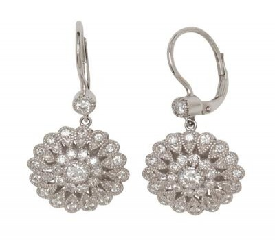 14K White Gold Antique Hanging Earrings