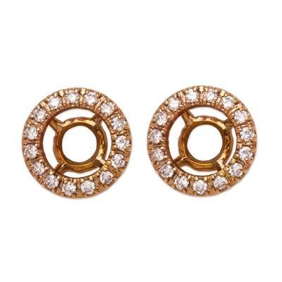 18K Pink Gold Diamond Earring Jackets