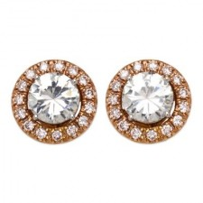 Round Diamond Stud Earrings With Pink Gold Diamond Jackets