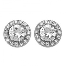 Round Diamond Stud Earrings With White Gold Diamond Jackets