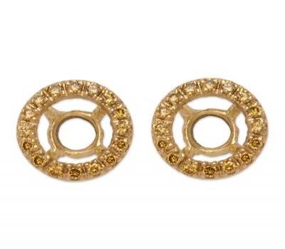 18K Yellow Gold Diamond Earring Jackets