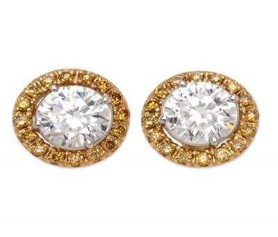 Round Diamond Stud Earrings With Yellow Gold Diamond Jackets