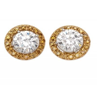 Round Diamond Stud Earrings With Yellow Gold Diamond Jackets