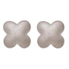 18K White Gold Matte Finish Clover Earrings