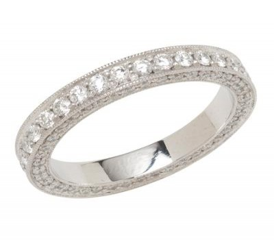 Platinum Antique Style Wedding Band