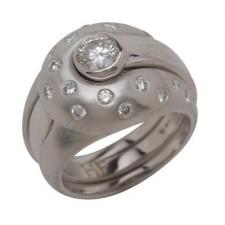 18K White Gold Insert Ring And Diamond Jacket