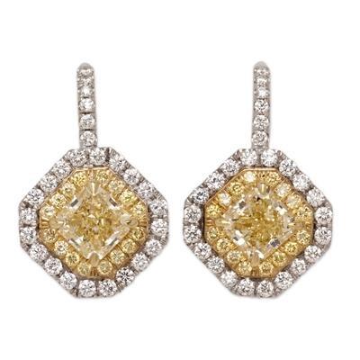 18K Two Tone Fancy Yellow Diamond Earrings