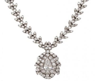 18K White Gold Diamond Drop Necklace