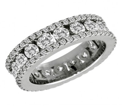 Custom Made Platinum 3 Row Wedding Band